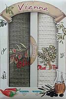 Полотенца кухонные 45*65 в красивой упаковке. Набор кухонных полотенец с вышивкой. Полотенце на кухню.