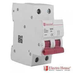 Автоматический выключатель 2 Р 6 А ElectroHouse