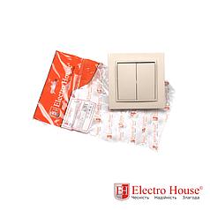 Выключатель двойной бежевый латте Enzo ElectroHouse