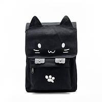 Черный городской рюкзак Котик