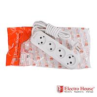 ElectroHouse Удлинитель 4 гнезда без заземления, длина 2 м.