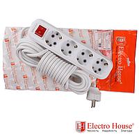 ElectroHouse Удлинитель 4 гнезда с заземлением с кнопкой, длина 2 м.