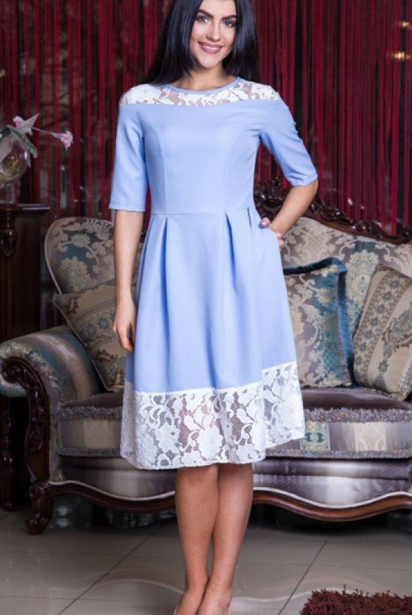 6a6990966c8 Очаровательное женское платье небесного цвета размер  44 - Интернет-магазин  стильной одежды