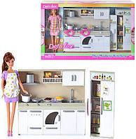 Игрушечная кухня для кукол 6085, кукла в комплекте, посуда, продукты, свет, 50х32х9 см