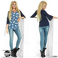 Женская блузка с цветочным рисунком, рукав 3/4. Модель 13491.