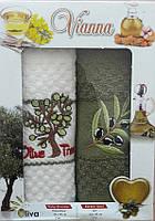 Полотенца кухонные 100% хлопок.Набор кухонных полотенец с вышивкой.Полотенце в подарочной упаковке.