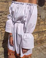 Женское Платье-Рубашка с бахромой
