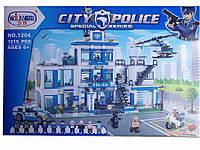 Конструктор для мальчиков 1204 Полицейский участок, 1215 деталей, 10 минифигурок, транспорт