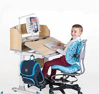 Парта трансформер для школьника для дома FunDesk Pensare Blue + Детское кресло LST2