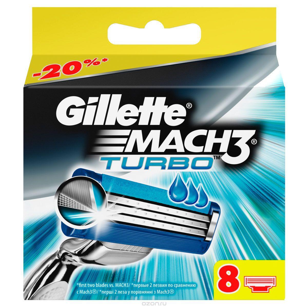 Картриджи Gillette Mach3 Turbo сменные лезвия (восемь штук в упаковке)