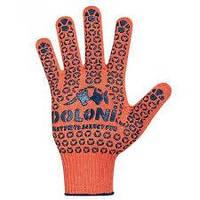 Рукавички трикотажні робочі ДОЛОНІ, 526, помаранчеві з крапкою
