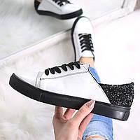 Слипоны женские Urban на шнурках белый + черный 3362, спортивная обувь