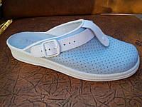Сабо женские голубые кожаные рабочая обувь оптом