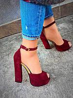 Женские босоножки на устойчивом каблуке 13 см, натуральная замша, марсала / босоножки женские, удобные