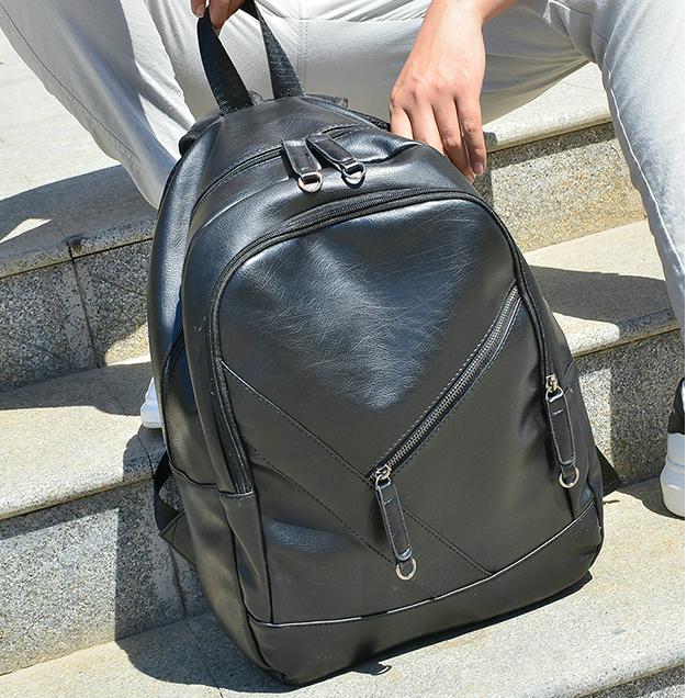 be7c2376920c Мужской городской рюкзак из кожзама Модный мужской рюкзак, Черный рюкзак  Молодежный мужской рюкзак