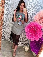 Женское трикотажное платье с кружевом (3 цвета), фото 1
