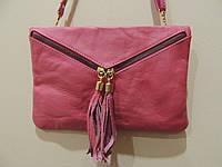 Сумочка-клатч женская кожаная . Италия Розовый