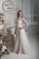 Свадебное платье рыбка в цвете nude кружевное