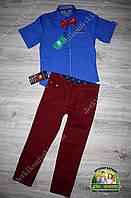 Нарядный брендовый костюм для мальчика: рубашка Lacoste с коротким рукавом и бардовые брюки
