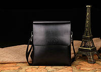 Стильная мужская сумка Polo. Размер 17-20-4 см. Черная