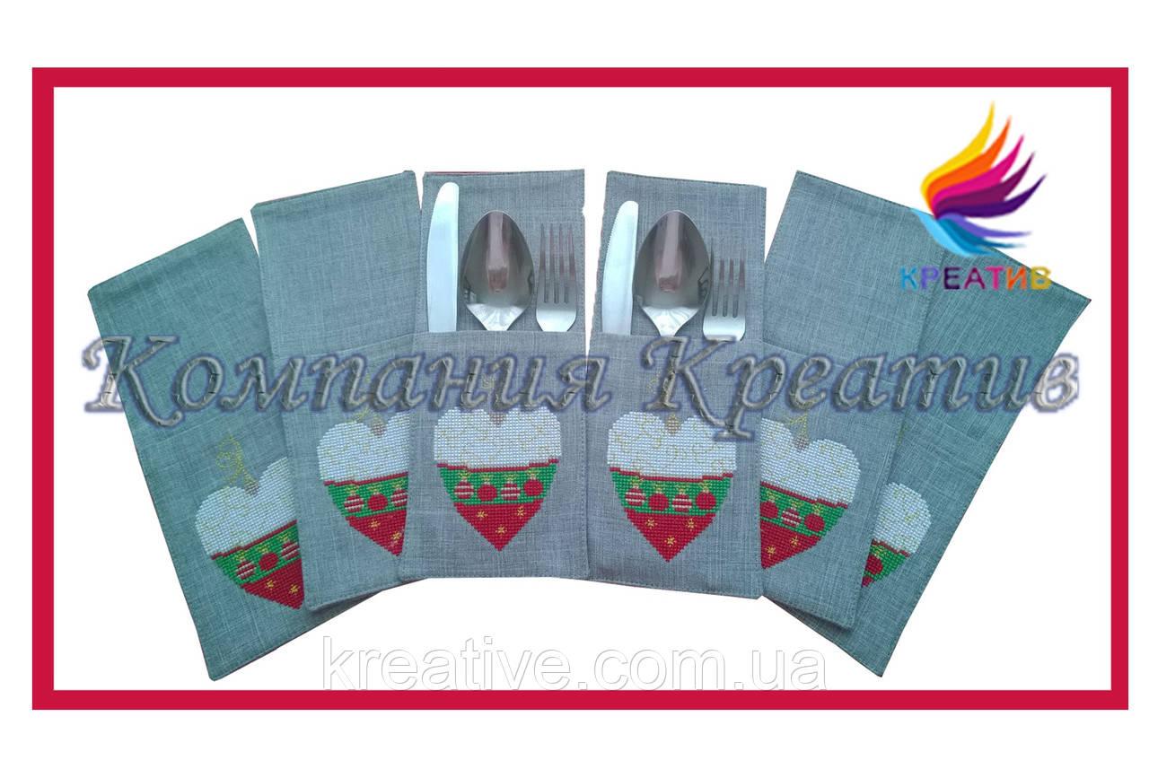 Конверт (куверт) для столовых приборов из текстиля с вышивкой (под заказ от 50 шт.)