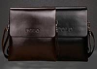 Стильная мужская сумка Polo. Размер 17-20-4 см. Коричневая