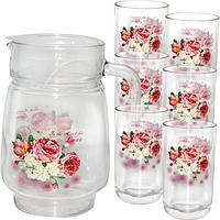 Набор для сока стекло Розовая роза кувшин -1,7 л ; стакан - 250 мл SNT 904-02
