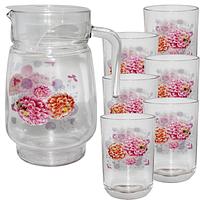 Набор для сока стекло Георгин кувшин -1,7 л ; стакан - 250 мл SNT 904-03