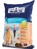 Корм для собак Clab 4 Paws / Клуб 4 Лапы - гипоаллергенный для взрослых собак ягненок с рисом 12 кг.
