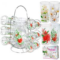 Набор для сока на стойке стекло Цветы кувшин -1,6 л ; стакан - 230 мл SNT 9046