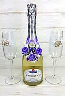 Украшение на свадебное шампанское и бокалы ручной работы