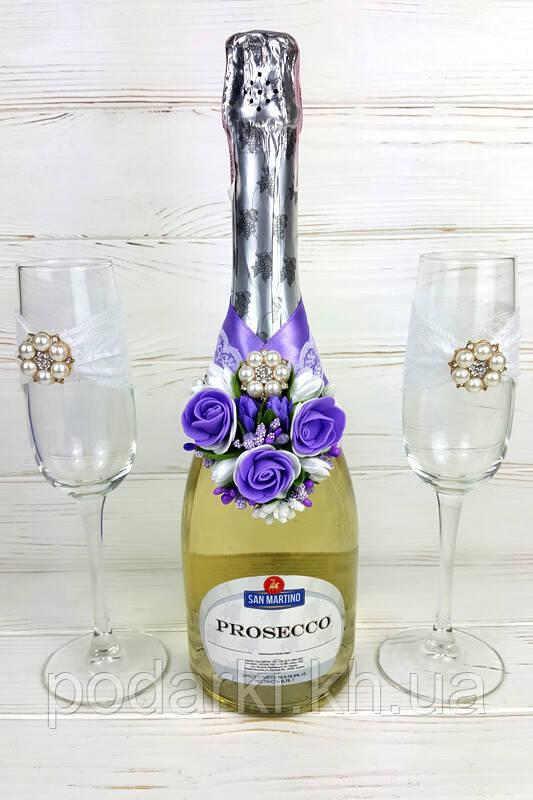 f8169ac77603a36 Украшение на свадебное шампанское и бокалы ручной работы - Подарки и  сувениры ручной работы в Харькове