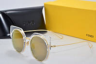 Солнцезащитные очки круглые Fendi золотые