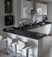 Черная глянцевая кухонная столешница из акрилового камня