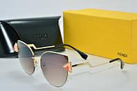 Солнцезащитные очки круглые Fendi коричневые