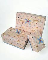 Прямоугольная подарочная коробка ручной работы с лисичками