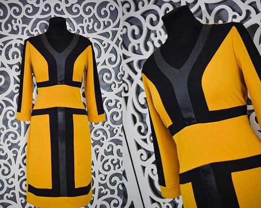 """Женское платье """"горчица"""" отделка из Экокожи Турция 42 размер, фото 2"""