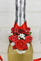 Украшение на свадебное шампанское