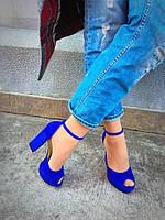 Женские босоножки на устойчивом каблуке 13 см, замшевые, синие / босоножки для девочек, удобные