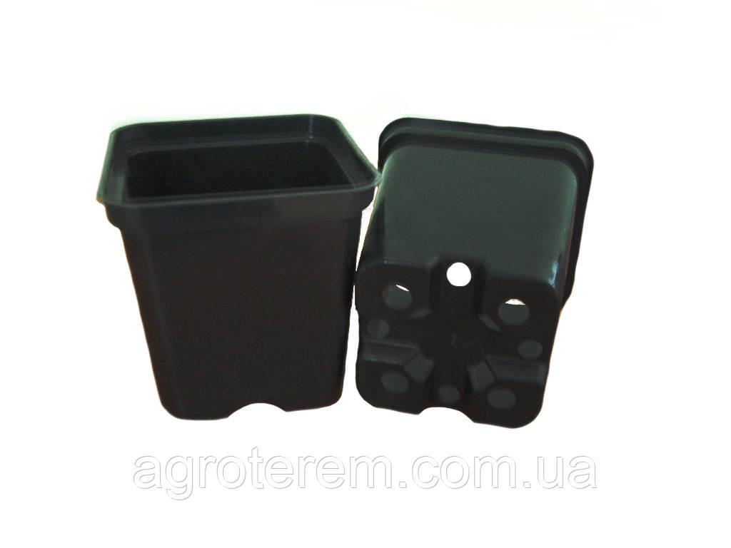 Горшок квадратный DK, 9х9х10 см, 0,5 л, черный - Agroterem в Одессе