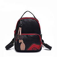 Рюкзак женский кожаный с аппликацией (черный), фото 1