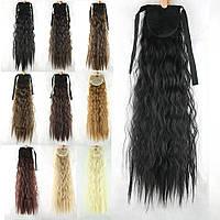 Шиньон на ленте хвост волнистый кудрявый 55см волосы накладные