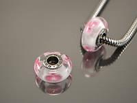 Бусина Орхидея, розовая на белом