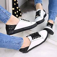Слипоны женские Urban на шнурках белый + черный, белые кроссовки