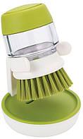 Щетка с дозатором моющего средства Joseph Joseph Palm Scrub зеленая