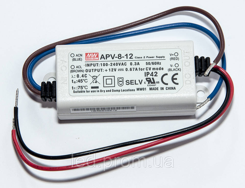 Блок питания Mean Well 8Вт 12В IP42 (APV-8-12)