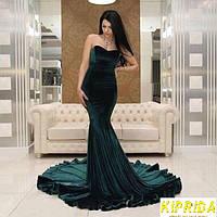 Длинное бархатное платье в пол без бретелей