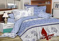 Голубое постельное белье полуторное из сатина Зимняя сказка