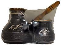 """Турка """"Царская"""" с деревяной ручкой и две чашки 400мл."""