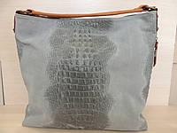 Серая замшевая женская сумка, кожаная. Италия